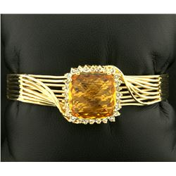 Heavy Citrine Gold Bangle Bracelet