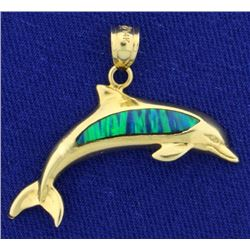 Black Opal Dolphin Pendant in 14K Gold