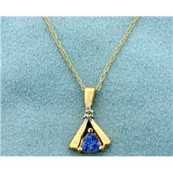 LeVian Tanzanite and Diamond Pendant with 14k Gold Chain