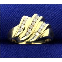 Diamond Wave Design Ring in 14K Yellow Gold