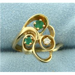 Emerald and Diamond Ring in 14K Yellow Gold