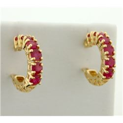 1.2 ct TW Natural Ruby Hoop Earrings in 14K Yellow Gold