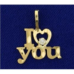 Diamond Cut  I Love You  Pendant in 14K Yellow Gold With Diamond