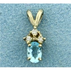Sky Blue Topaz and Three Diamond Pendant in 14K White Gold