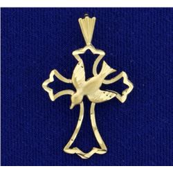 Dove and Cross Diamond Cut Pendant in 14K Yellow Gold