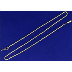 Italian Made 20 Inch Rope Style Neck Chain in 14K Yellow Gold