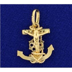 Crucifix Anchor Pendant in 14K Yellow Gold