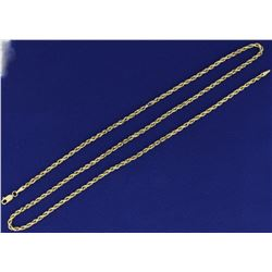 25 Inch Rope Style Neck Chain in 10K Yellow Gold