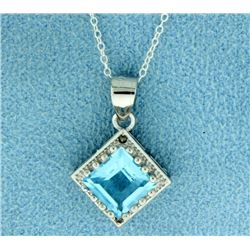 2ct Blue Topaz with Diamond Pendant and Chain