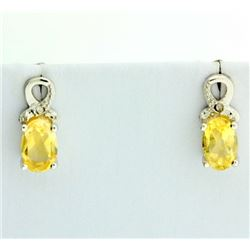 Oval Citrine and Diamond Earrings