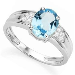 Sky Blue Topaz Ring with Diamond Accent in Sterling Silver