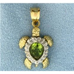 Peridot Sea Turtle Charm or Pendant in 14K Yellow and White Gold