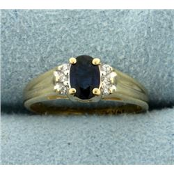 Natural Sapphire and Diamond ring in 14K Yellow Gold
