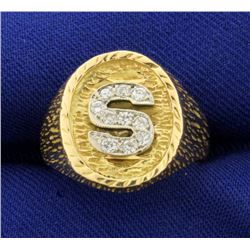 """Diamond Initial """"S"""" Ring in 14K Yellow and White Gold"""