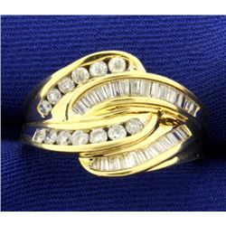 1ct TW Baguette and Round Diamond Ring in 14K Yellow Gold