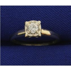 Diamond Ring in 14K Yellow and White Gold