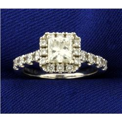 Over 1ct TW Princess Cut Diamond Engagement Ring in 18K White Gold Romance Brand Setting