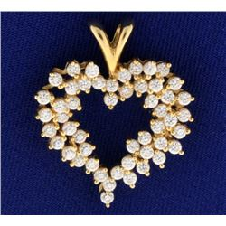 14K Gold Large Heart Pendant