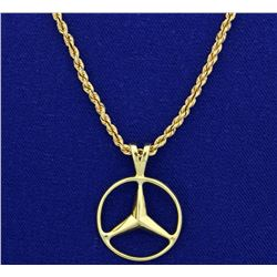 Mercedes Emblem Pendant on 14k Neck Chain