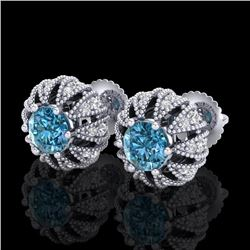 2.01 CTW Fancy Intense Blue Diamond Art Deco Stud Earrings 18K White Gold - REF-210X9T - 37733