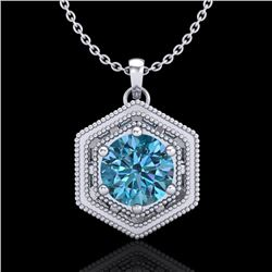 0.76 CTW Fancy Intense Blue Diamond Solitaire Art Deco Necklace 18K White Gold - REF-103M6H - 37516