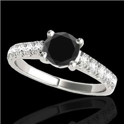 2.1 CTW Certified VS Black Diamond Solitaire Ring 10K White Gold - REF-81Y8K - 35501