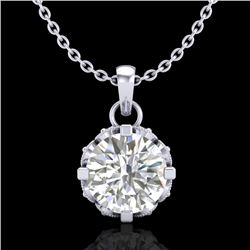 0.85 CTW VS/SI Diamond Solitaire Art Deco Stud Necklace 18K White Gold - REF-138F4N - 36839