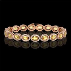 12.73 CTW Fancy Citrine & Diamond Halo Bracelet 10K Rose Gold - REF-226A9X - 40494