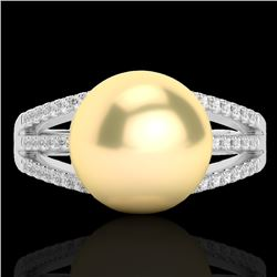 0.30 CTW Micro Pave VS/SI Diamond & Golden Pearl Designer Ring 18K White Gold - REF-50T8M - 22625