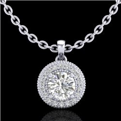 1 CTW VS/SI Diamond Solitaire Art Deco Stud Necklace 18K White Gold - REF-180A2X - 36965