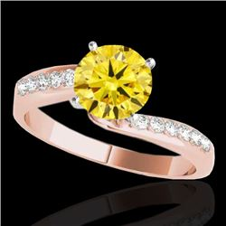 1.15 CTW Certified Si Intense Yellow Diamond Bypass Solitaire Ring 10K Rose Gold - REF-178M2H - 3507