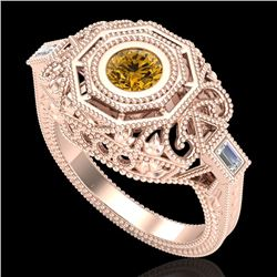 0.75 CTW Intense Fancy Yellow Diamond Engagement Art Deco Ring 18K Rose Gold - REF-227X3T - 37820