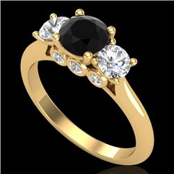 1.5 CTW Fancy Black Diamond Solitaire Art Deco 3 Stone Ring 18K Yellow Gold - REF-136T4M - 38264