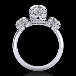 3 CTW VS/SI Diamond Solitaire Art Deco 3 Stone Ring 18K White Gold - REF-649F3N - 36866