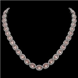 45.98 CTW Morganite & Diamond Halo Necklace 10K White Gold - REF-850N9Y - 40565