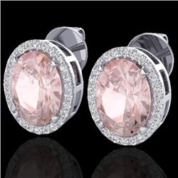 5.50 CTW Morganite & Micro VS/SI Diamond Halo Earrings 18K White Gold - REF-125T5M - 20254