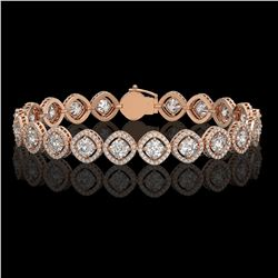 13.06 CTW Cushion Cut Diamond Designer Bracelet 18K Rose Gold - REF-2253W3F - 42807