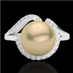 0.27 CTW VS/SI Diamond & Golden Pearl Designer Ring 18K White Gold - REF-50M8H - 22618