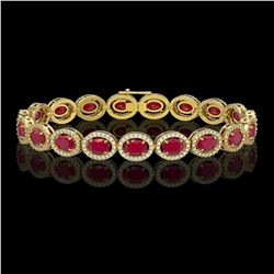 15.2 CTW Ruby & Diamond Halo Bracelet 10K Yellow Gold - REF-255Y3K - 40456