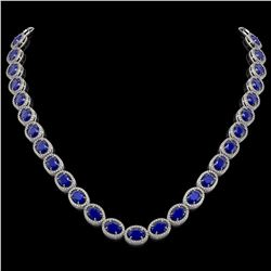 52.15 CTW Sapphire & Diamond Halo Necklace 10K White Gold - REF-655N3Y - 40559