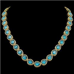 43.2 CTW Swiss Topaz & Diamond Halo Necklace 10K Yellow Gold - REF-609K8W - 41221