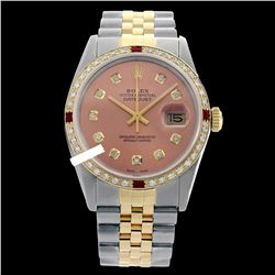 Rolex Men's Two Tone 14K Gold/SS, QuickSet, Diam Dial & Diam/Ruby Bezel - REF-557N7A