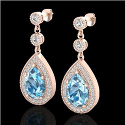 7.50 CTW Sky Topaz & Micro Pave VS/SI Diamond Earrings Designer 14K Rose Gold - REF-63H3A - 23125
