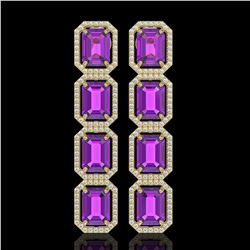 18.59 CTW Amethyst & Diamond Halo Earrings 10K Yellow Gold - REF-177Y8K - 41611