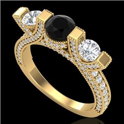2.3 CTW Fancy Black Diamond Solitaire Micro Pave 3 Stone Ring 18K Yellow Gold - REF-200Y2K - 37641