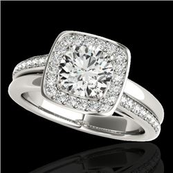 1.33 CTW H-SI/I Certified Diamond Solitaire Halo Ring 10K White Gold - REF-176W4F - 34150