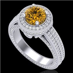 2.8 CTW Intense Fancy Yellow Diamond Engagement Art Deco Ring 18K White Gold - REF-327X3T - 38008