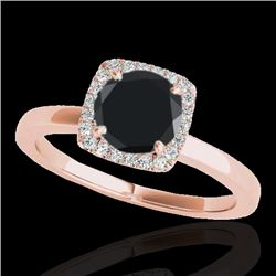 1.15 CTW Certified VS Black Diamond Solitaire Halo Ring 10K Rose Gold - REF-43F6N - 33404