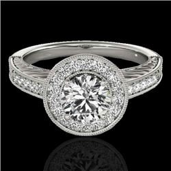 1.5 CTW H-SI/I Certified Diamond Solitaire Halo Ring 10K White Gold - REF-200W2F - 33742
