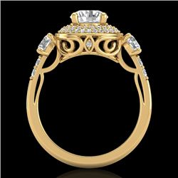 2.05 CTW VS/SI Diamond Solitaire Art Deco 3 Stone Ring 18K Yellow Gold - REF-490Y9K - 37264